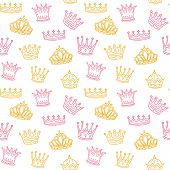 Crown Seamless Pattern. Golden And Pink Crowns For Princess. Newborn Girl Vector Background. Illustr poster