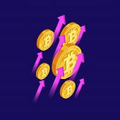 Bitcoin And Cryptocurrency Growth Isometric Vector Concept. Crypto Money Bitcoin, Finance Cryptocurr poster