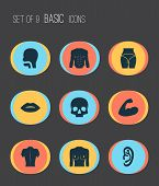 Physique Icons Set With Butt, Oral Cavity, Breast And Other Breath Elements. Isolated Vector Illustr poster