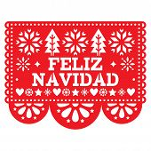 Feliz Navidad Papel Picado Vector Design, Mexican Xmas Greeting Card, Red And White Paper Garland De poster