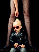 Music For Children. Small Boy At Female Legs. Rock Style Child. Cute Little Music Fan. Little Rock S poster