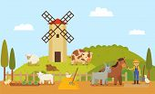 Rural Farm Or Authentic Ranch With Windmill And Grassland. Animals Horse And Sheep, Goose And Donkey poster