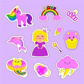 Fashion Patch Stickers Badges With Princess, Crown, Pony, Unicorn, Ice Cream, Cats, Kitten, Rainbow, poster