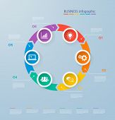 Infographics Template With Realistic Colorful Circles For 6 Steps And Icons. Can Be Used For Workflo poster