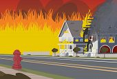 Vector Illustration Of Cartoon Fire Extinguishing. Image Wooden House On Fire. Concept Fire House. I poster