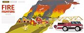 Vector Illustration Cartoon Fire Extinguishing. Banner Image Fire Fighters. Group Men Firefighters E poster