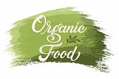 Hand Drawn Lettering Organic Food On A Paint Brush Stroke. Vector Ink Illustration. Typography Poste poster