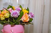 Colorful Roses, Beautiful Flower Bouquet.happy Mothers Day.mix Color Roses In The Box.pile Of Pink,  poster