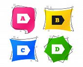 Energy Efficiency Class Icons. Energy Consumption Sign Symbols. Class A, B, C And D. Geometric Color poster