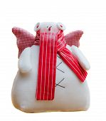 image of tilde  - tilde toy handmade white snowman with red scarf - JPG