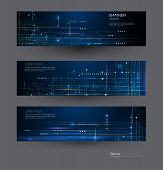 Vector Banner Set Design Circuit Board. Illustration Abstract Modern Futuristic, Engineering, Techno poster