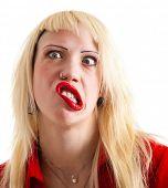 Постер, плакат: Портрет mad блондинка с crazy выражение лица