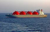 stock photo of lng  - LNG carrier ship designed for transporting natural liquefied gas anchored - JPG