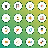 Music Icons Flat Style Set With Play List, Frequency, Earpiece And Other Tone Elements. Isolated Vec poster