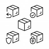Boxes Line Icons Set. Cardboard Boxes, Parcels, Packages Outline Symbols. Delivery, Shipping, Transp poster