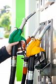 stock photo of gasoline station  - Man holding a gasoline nozzle in his hand - JPG