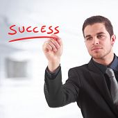 picture of marketing strategy  - Businessman writing  - JPG