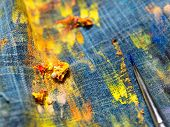 The Creative Process Of The Artist. The Mess On The Table Of The Artist. Brush In Oil Paint On The C poster