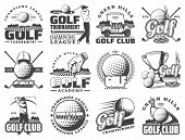 Golf Club Sport Icons And Badges. Vector Symbols Of Golf Player, Equipment And Game Items, Tee Cours poster