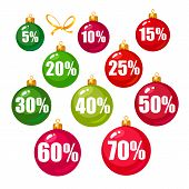 Set Of Discount Tags 10, 15, 20, 25, 30, 40, 50, 60, 70 Percent Off In The Shape Of Christmas Balls. poster