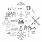School Adventures Icons Set. Outline Set Of 25 School Adventures Icons For Web Isolated On White Bac poster