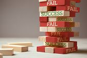 Success And Fail. Wooden Tower Of Blocks. Failure Is Like A New Step For Success. Failure Gives Expe poster