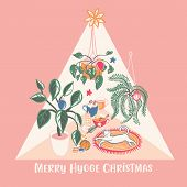 Super Cute Hygge Christmas Home Chill Out Scene With Hot Drinks, Home Plants And A White Cat Vector  poster