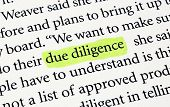 image of diligent  - The words due diligence highlighted with a yellow marker - JPG
