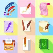 Stuff For Writer Icons Set. Cartoon Set Of 9 Stuff For Writer Icons For Web Isolated On White Backgr poster