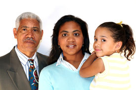 picture of grandparent child  - Grandfather Daughter and young granddaughter together on white background - JPG