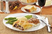 picture of beef wellington  - Gourmet dinner with Beef Wellington and asparagus - JPG