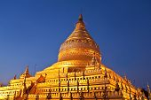 Golden Shwezigon Pagoda At Morning Twilight In Bagan, Myanmar