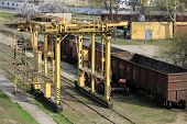 image of railcar  - Train preventive maintenance on rail road station - JPG