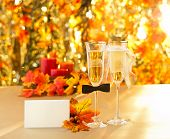 picture of hetero  - Champagne glasses with conceptual heterosexual decoration for straight couples with place card - JPG