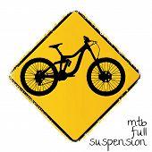 Постер, плакат: предупреждение дорожный знак с полная приостановка горный велосипед