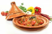pic of tagine  - oriental vegetables pan with peppers tomato and meatballs