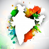 stock photo of ashoka  - Republic of India map on national flag colors grunge background - JPG