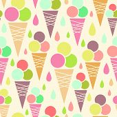 stock photo of frozen food  - vector ice cream cones seamless pattern background with delicious treats - JPG