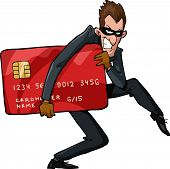 stock photo of theft  - A thief with a credit card vector illustration - JPG