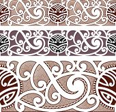 stock photo of maori  - Maori styled seamless pattern - JPG