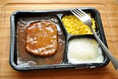 Quick Meal of a TV Dinner with a Fork