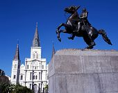 Cathedral and statue, New Orleans, USA.