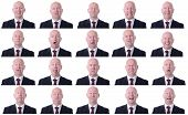 picture of xxl  - XXL high resolution image of a businessman facal expressions isolated on a white background - JPG