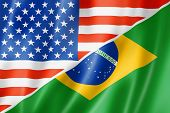 stock photo of brazilian money  - Mixed USA and Brazil flag three dimensional render illustration - JPG