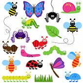 stock photo of sting  - Large Vector Set of Cute Cartoon Bugs - JPG