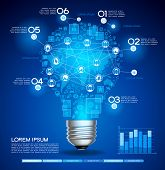 image of process  - Creative light bulb with technology business Network process - JPG
