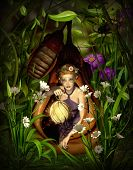 stock photo of cocoon  - a female elf sitting with a lantern in a cocoon - JPG