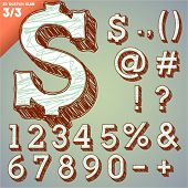 Sketch alphabet. Vector illustration of hand drawing font. Slab numbers