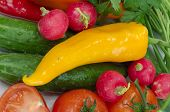 stock photo of yellow-pepper  - Yellow sweet pepper and many different vegetables - JPG