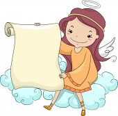 foto of cherubim  - Illustration of a Girl Angel holding a Blank Scroll while Sitting on a Cloud - JPG